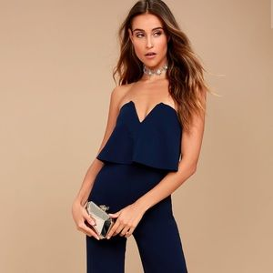 XS Power of Love Strapless Navy Blue Jumpsuit